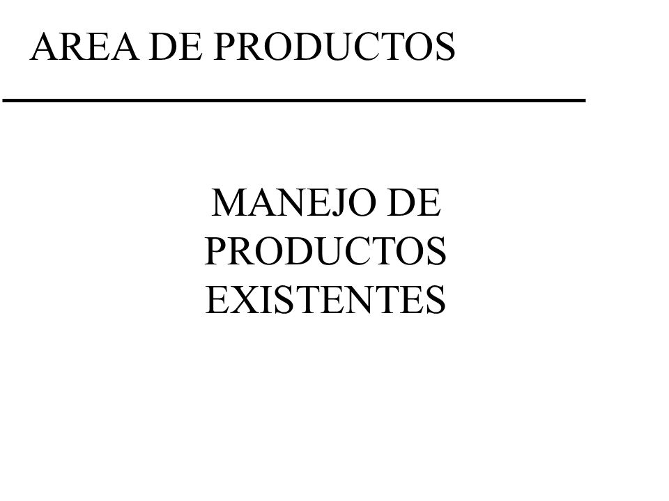 MANEJO DE PRODUCTOS EXISTENTES