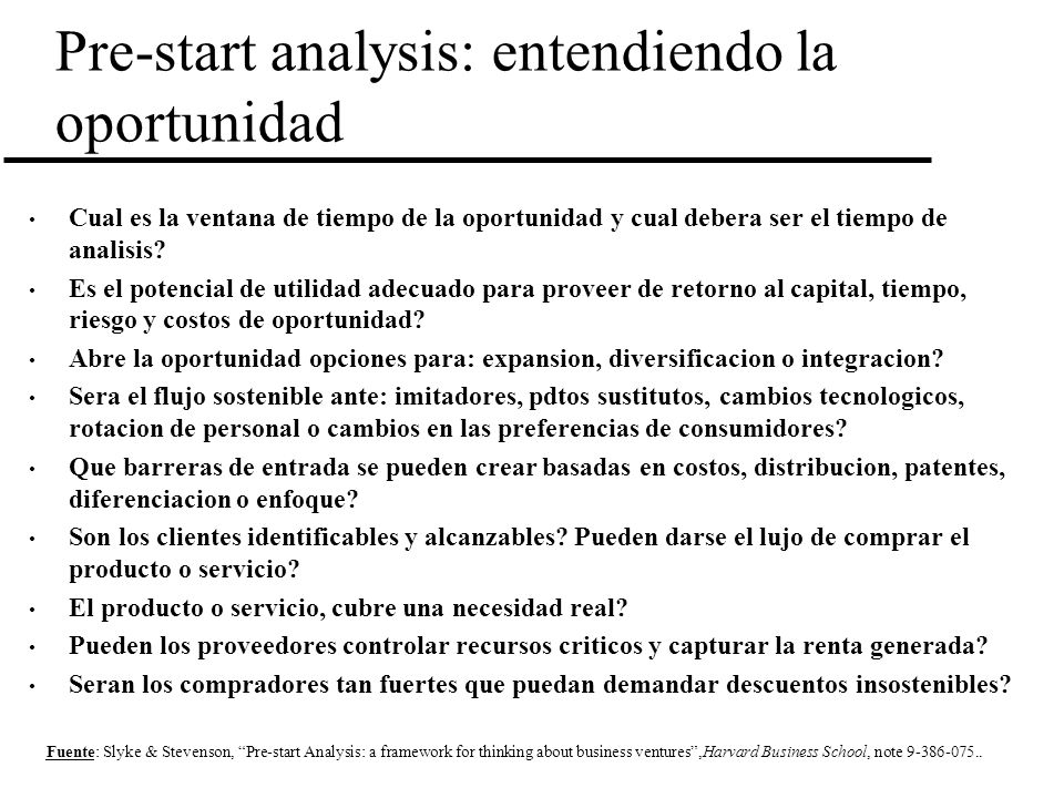 Pre-start analysis: entendiendo la oportunidad
