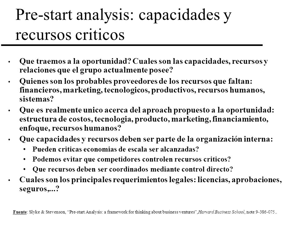 Pre-start analysis: capacidades y recursos criticos