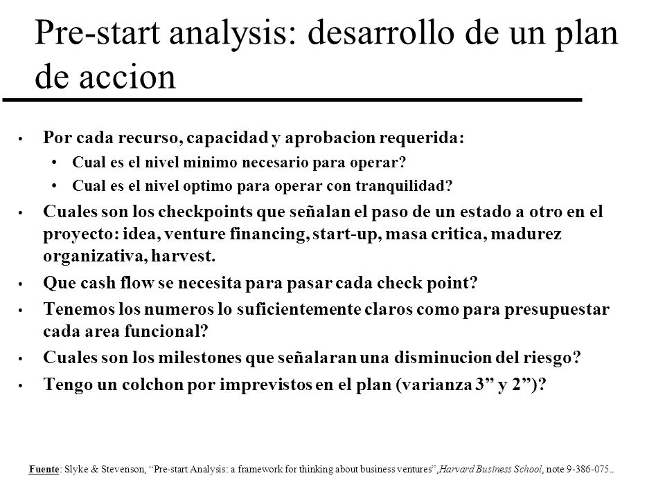 Pre-start analysis: desarrollo de un plan de accion