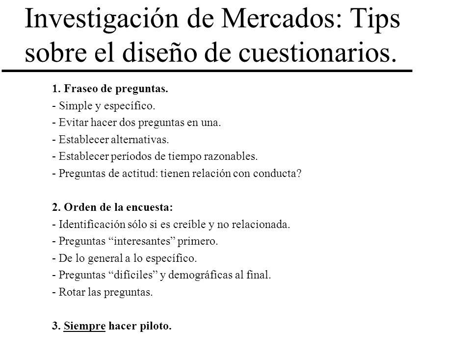 Investigación de Mercados: Tips sobre el diseño de cuestionarios.