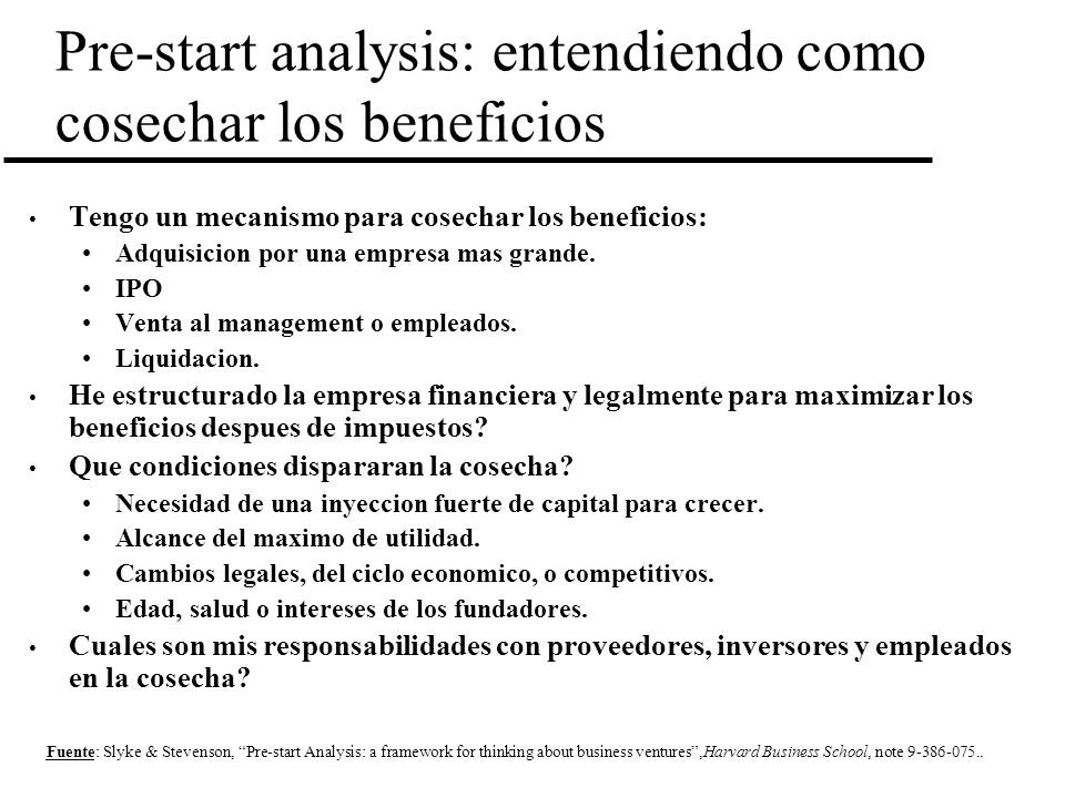Pre-start analysis: entendiendo como cosechar los beneficios