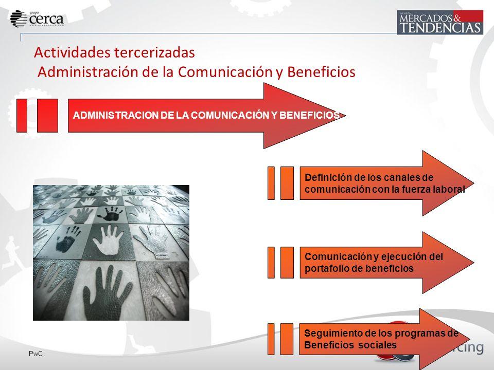 Actividades tercerizadas Administración de la Comunicación y Beneficios