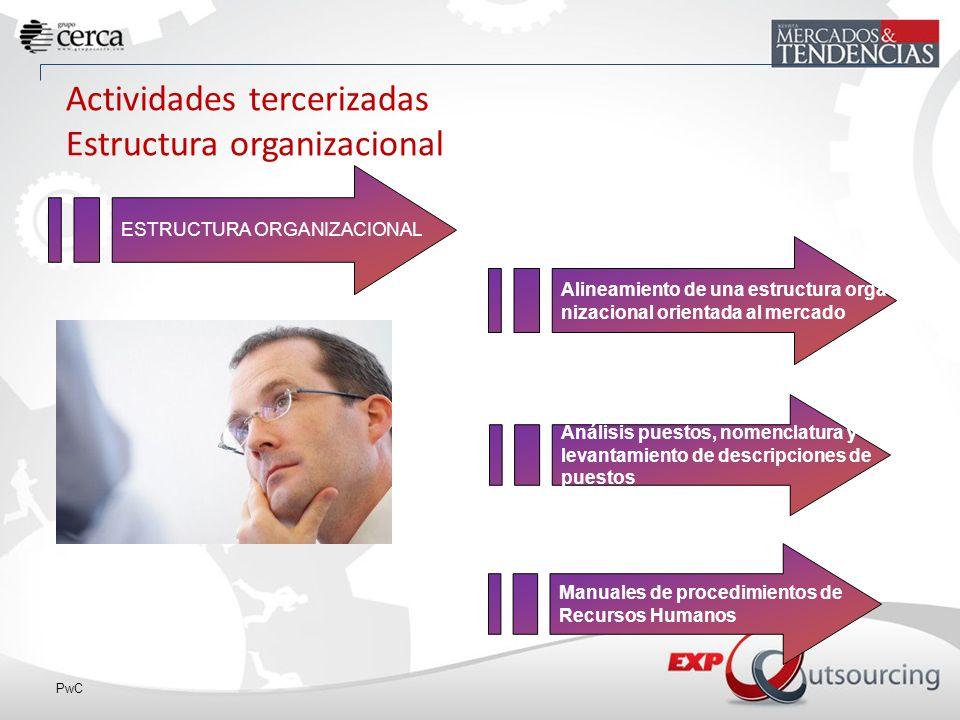 Actividades tercerizadas Estructura organizacional