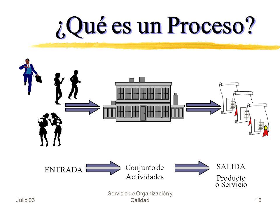 Conjunto de Actividades SALIDA Producto o Servicio