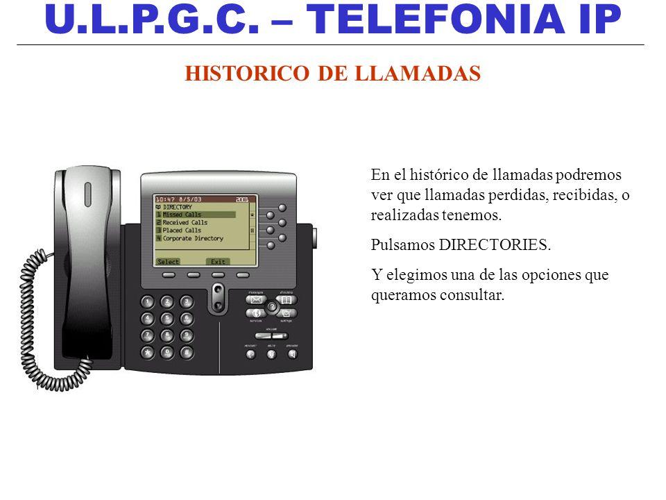 U.L.P.G.C. – TELEFONIA IP HISTORICO DE LLAMADAS