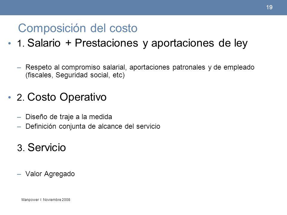 Composición del costo 1. Salario + Prestaciones y aportaciones de ley