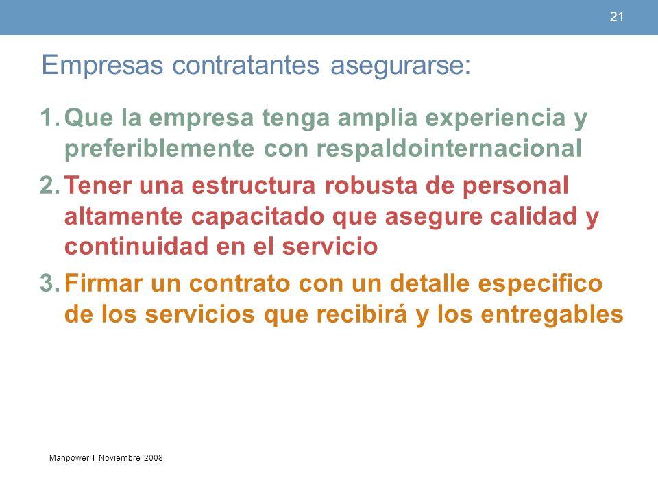 Empresas contratantes asegurarse: