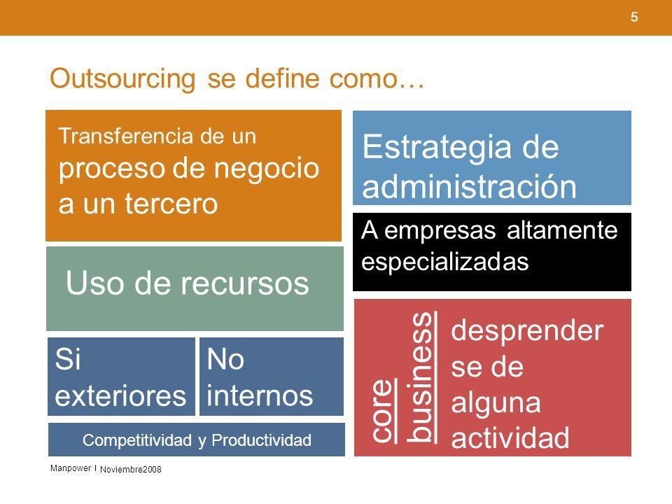 Outsourcing se define como…