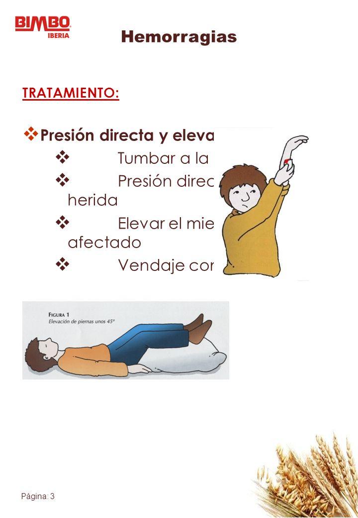 Hemorragias Presión directa y elevación: Tumbar a la víctima