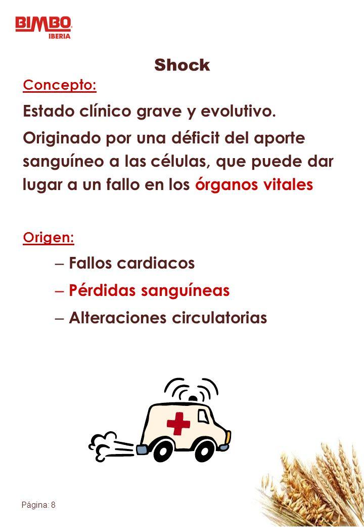 Shock Estado clínico grave y evolutivo.