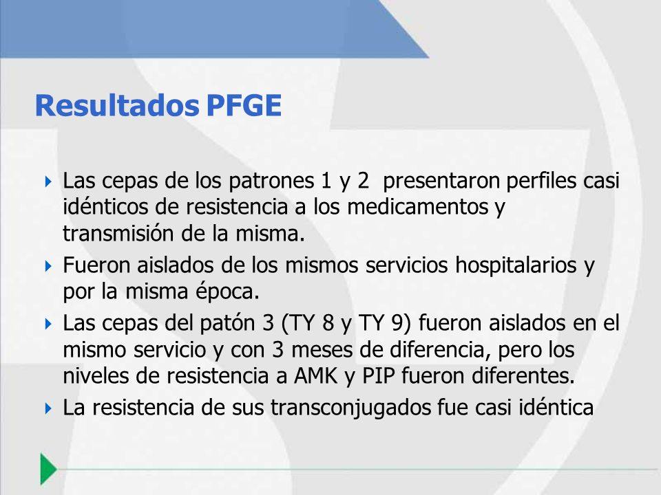 Resultados PFGE Las cepas de los patrones 1 y 2 presentaron perfiles casi idénticos de resistencia a los medicamentos y transmisión de la misma.