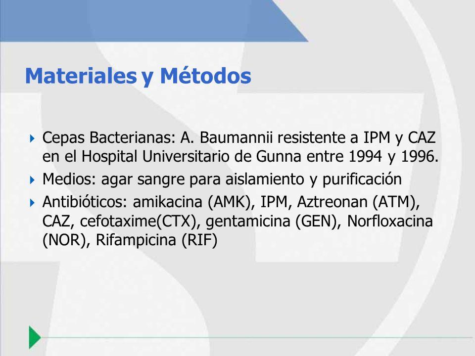 Materiales y Métodos Cepas Bacterianas: A. Baumannii resistente a IPM y CAZ en el Hospital Universitario de Gunna entre 1994 y 1996.