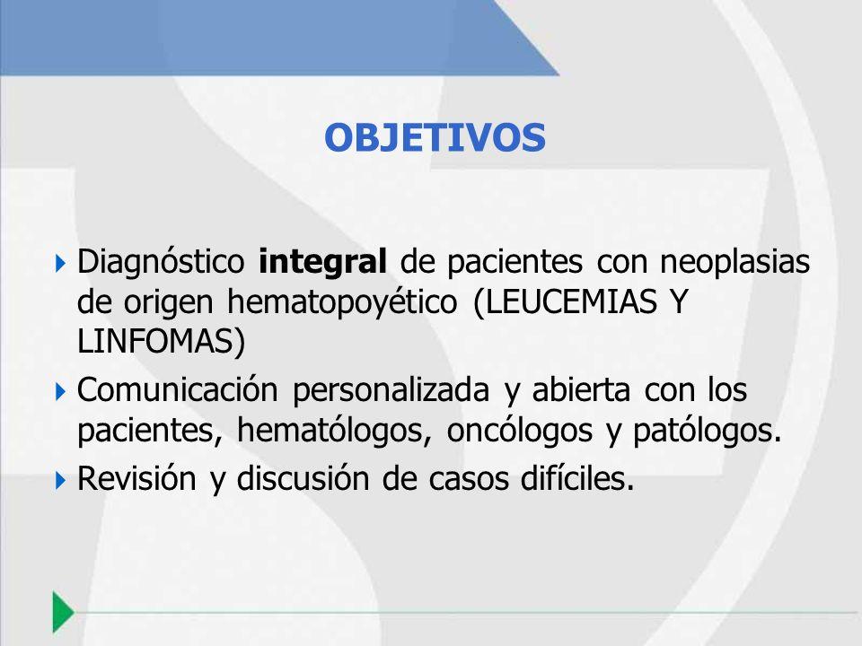 OBJETIVOS Diagnóstico integral de pacientes con neoplasias de origen hematopoyético (LEUCEMIAS Y LINFOMAS)