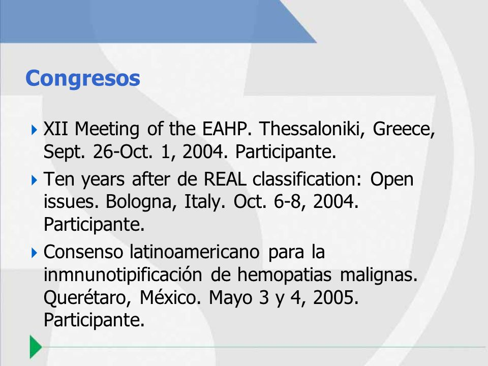 Congresos XII Meeting of the EAHP. Thessaloniki, Greece, Sept. 26-Oct. 1, 2004. Participante.