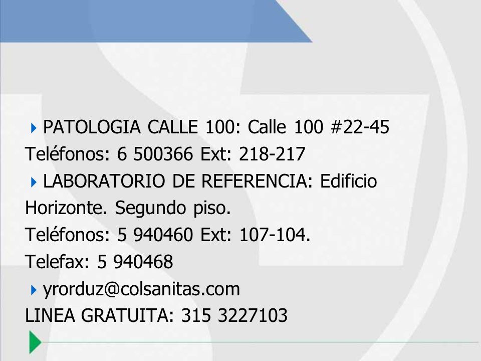 PATOLOGIA CALLE 100: Calle 100 #22-45