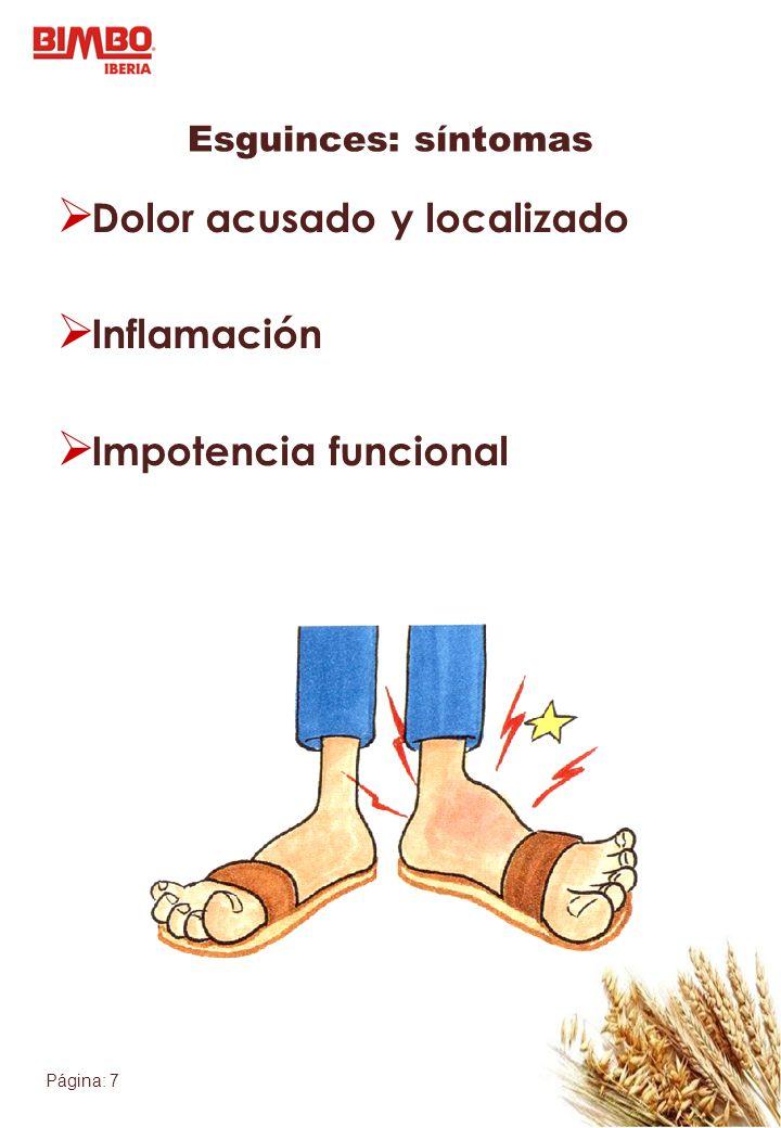 Dolor acusado y localizado Inflamación Impotencia funcional