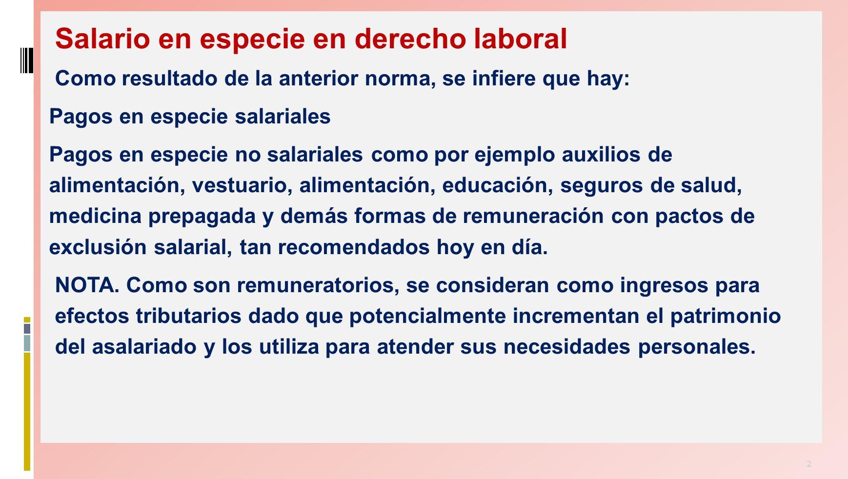 Salario en especie en derecho laboral