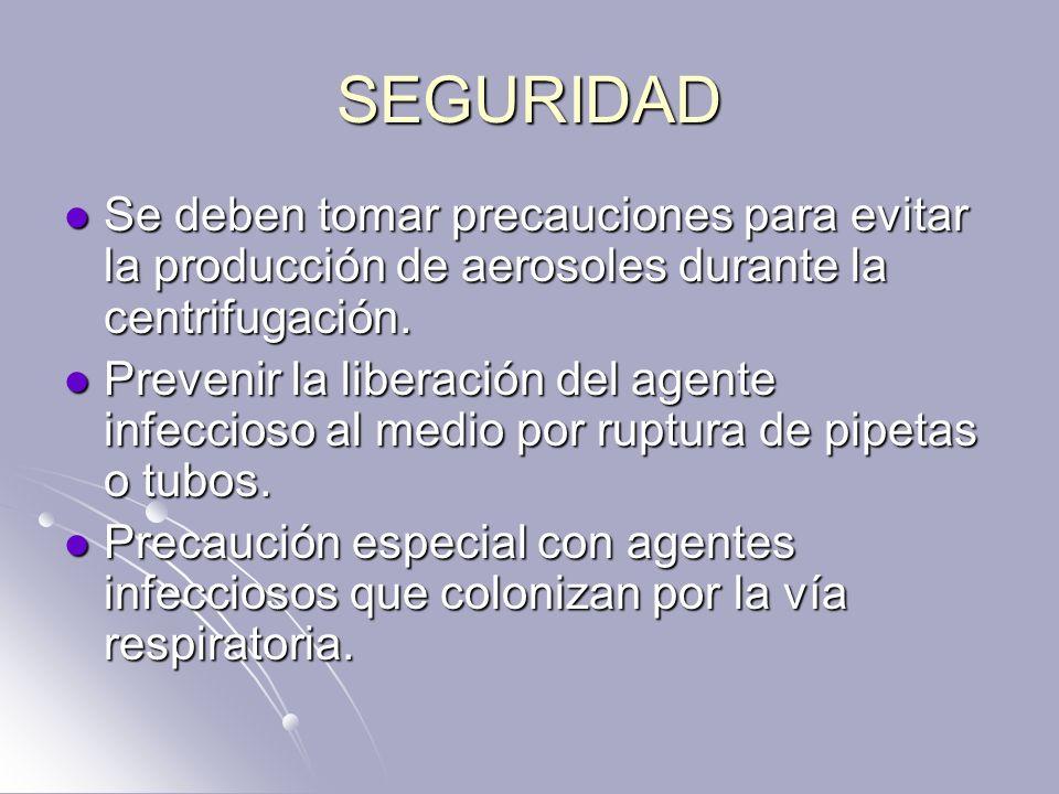 SEGURIDAD Se deben tomar precauciones para evitar la producción de aerosoles durante la centrifugación.