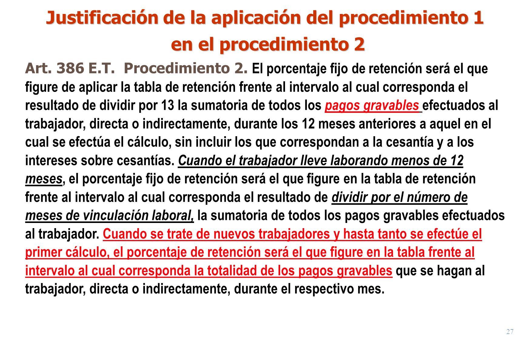 Justificación de la aplicación del procedimiento 1