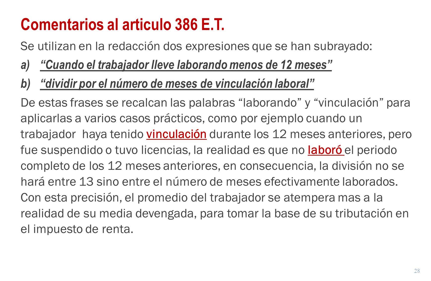 Comentarios al articulo 386 E.T.