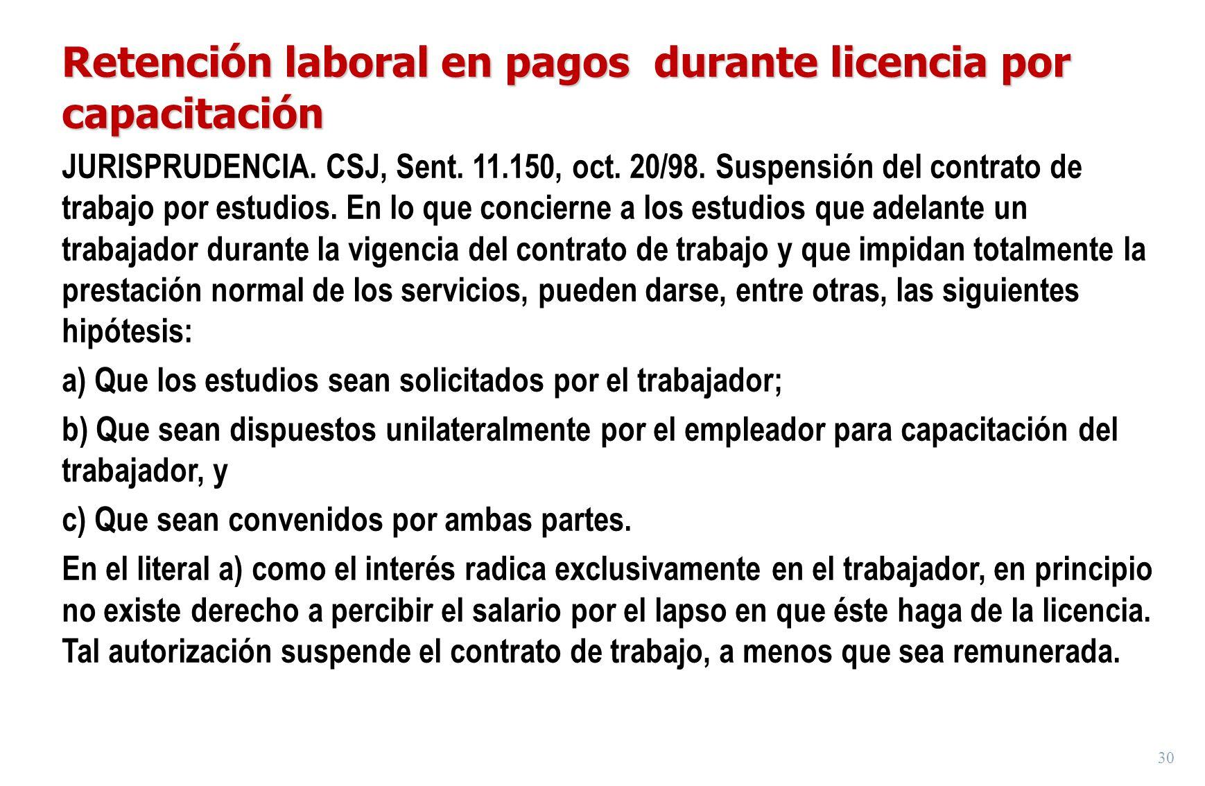 Retención laboral en pagos durante licencia por capacitación