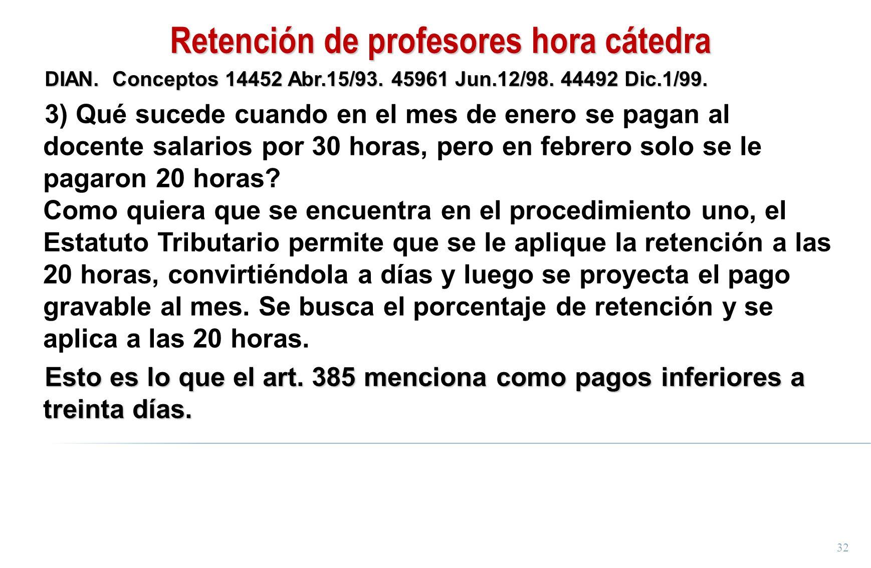 Retención de profesores hora cátedra
