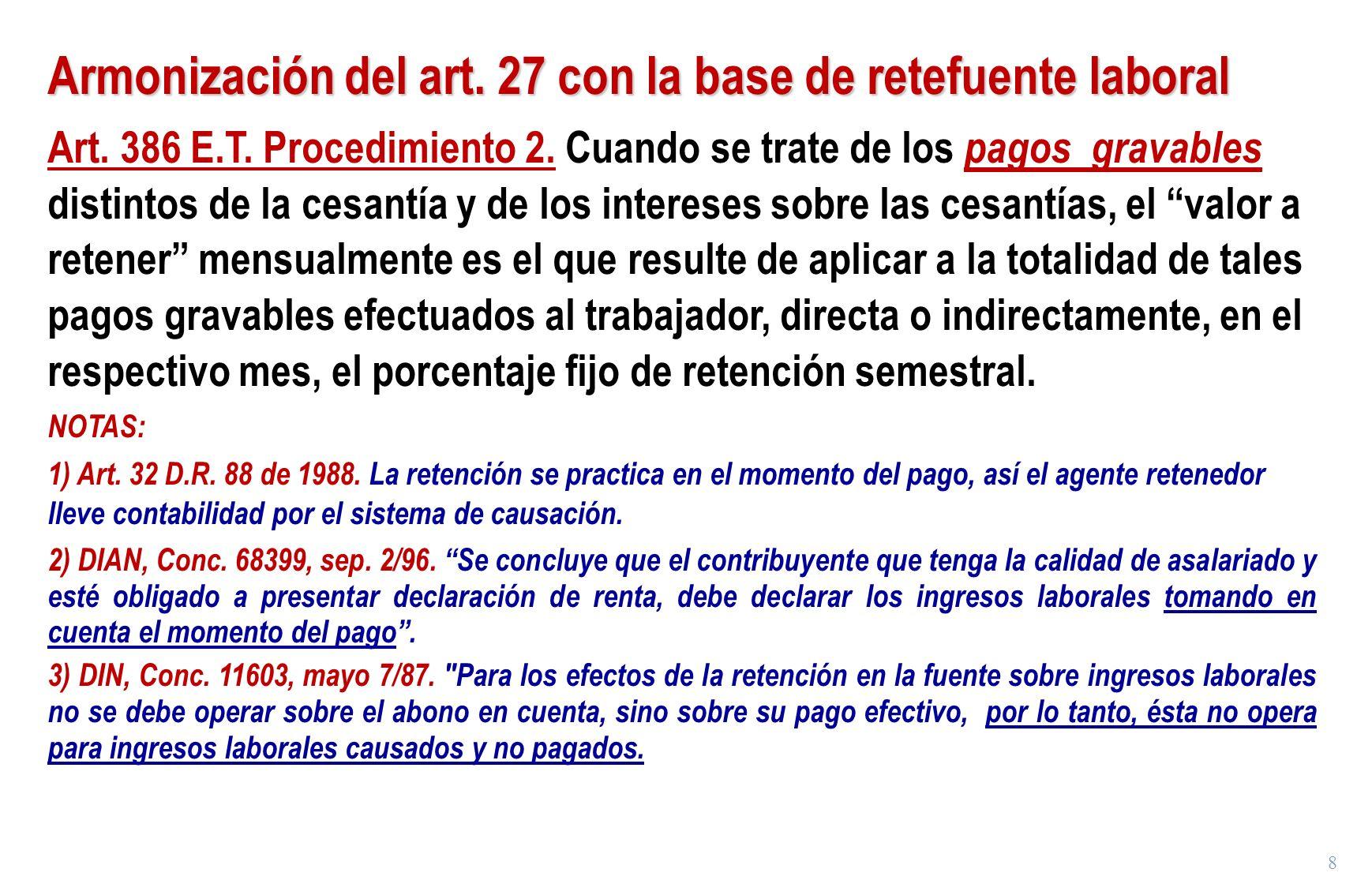 Armonización del art. 27 con la base de retefuente laboral