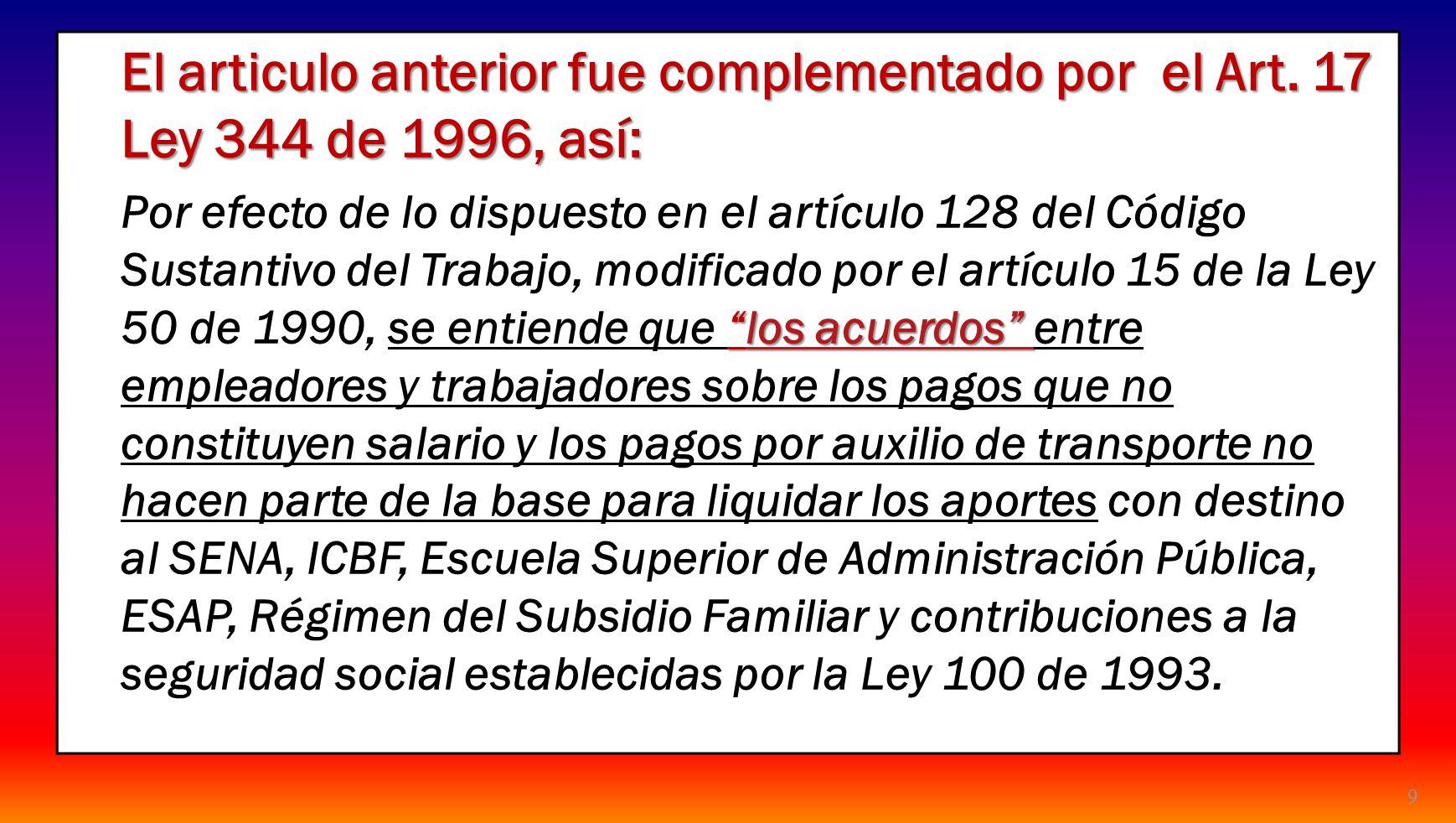 24/03/2017 El articulo anterior fue complementado por el Art. 17 Ley 344 de 1996, así: