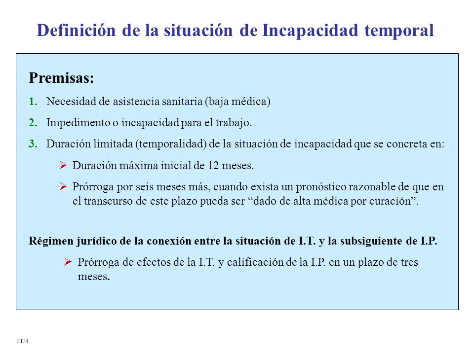 Definición de la situación de Incapacidad temporal