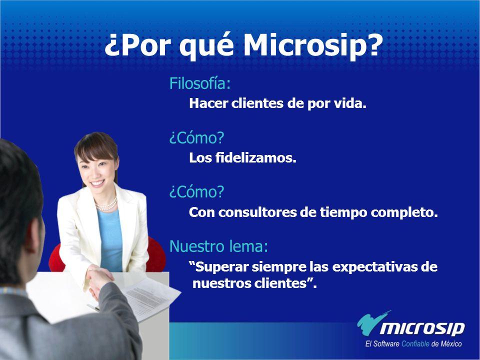 ¿Por qué Microsip Filosofía: Hacer clientes de por vida. ¿Cómo