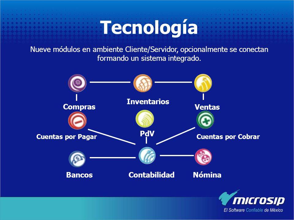 Tecnología Nueve módulos en ambiente Cliente/Servidor, opcionalmente se conectan formando un sistema integrado.
