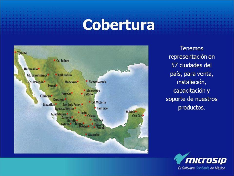 CoberturaTenemos representación en 57 ciudades del país, para venta, instalación, capacitación y soporte de nuestros productos.
