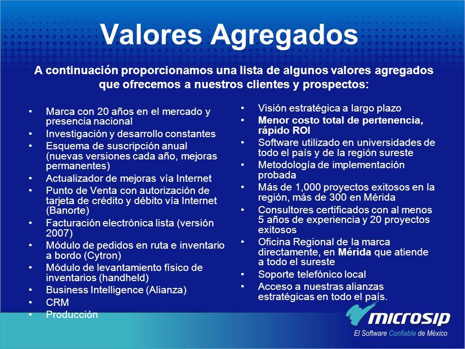 Valores Agregados A continuación proporcionamos una lista de algunos valores agregados que ofrecemos a nuestros clientes y prospectos: