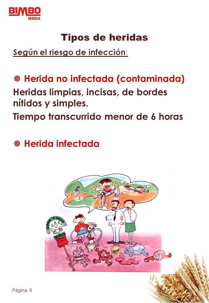 Tipos de heridas Herida no infectada (contaminada)