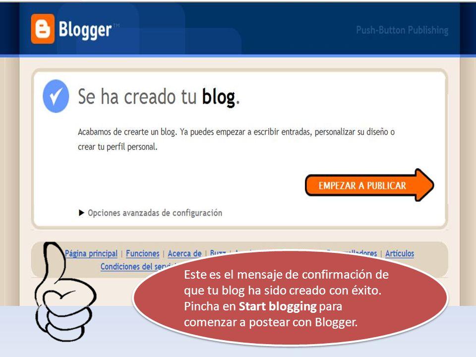 Este es el mensaje de confirmación de que tu blog ha sido creado con éxito.