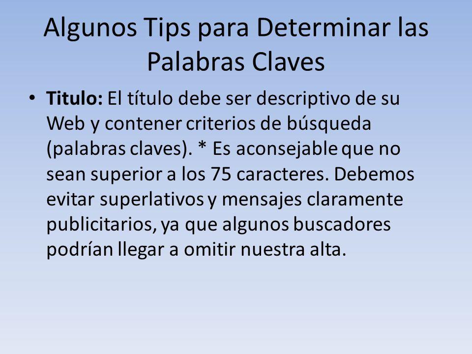Algunos Tips para Determinar las Palabras Claves