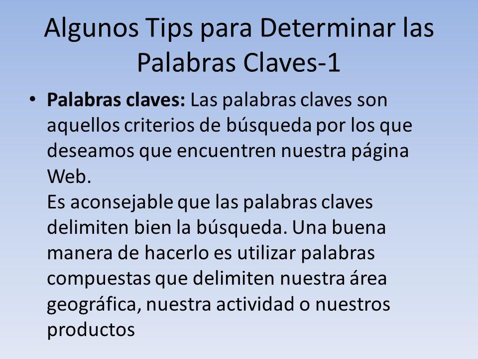 Algunos Tips para Determinar las Palabras Claves-1