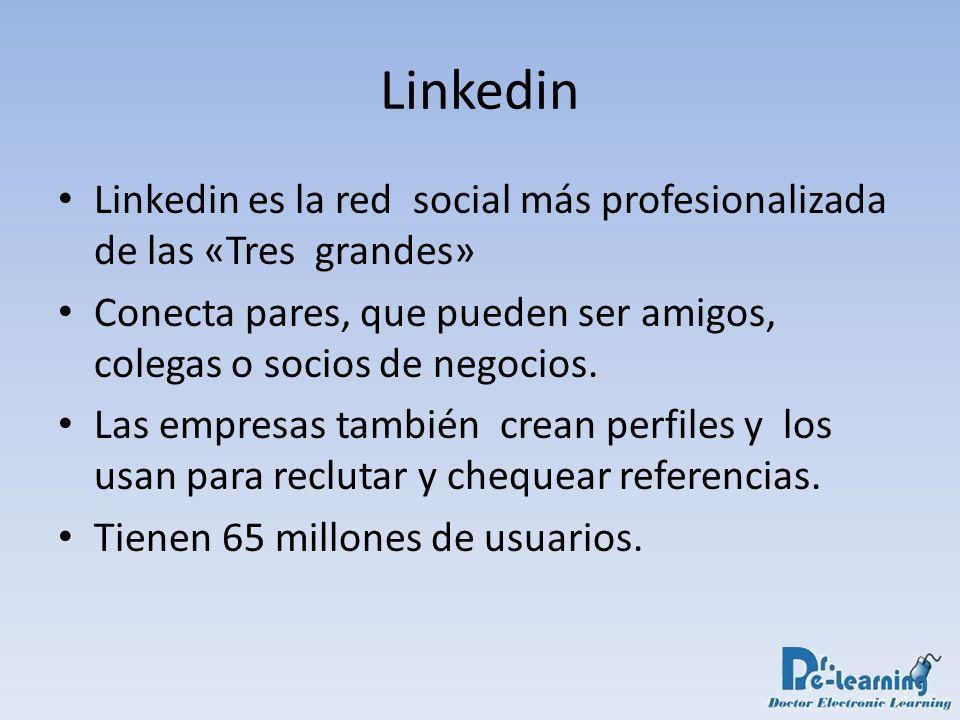 Linkedin Linkedin es la red social más profesionalizada de las «Tres grandes» Conecta pares, que pueden ser amigos, colegas o socios de negocios.