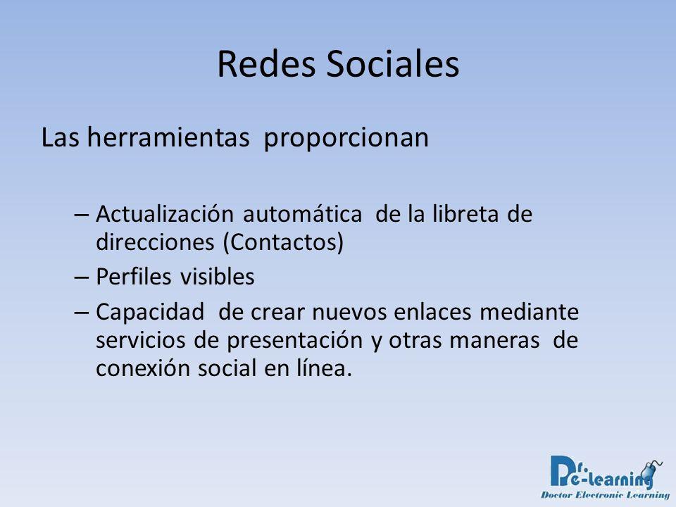 Redes Sociales Las herramientas proporcionan