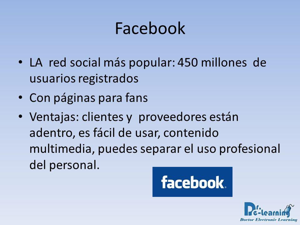 Facebook LA red social más popular: 450 millones de usuarios registrados. Con páginas para fans.