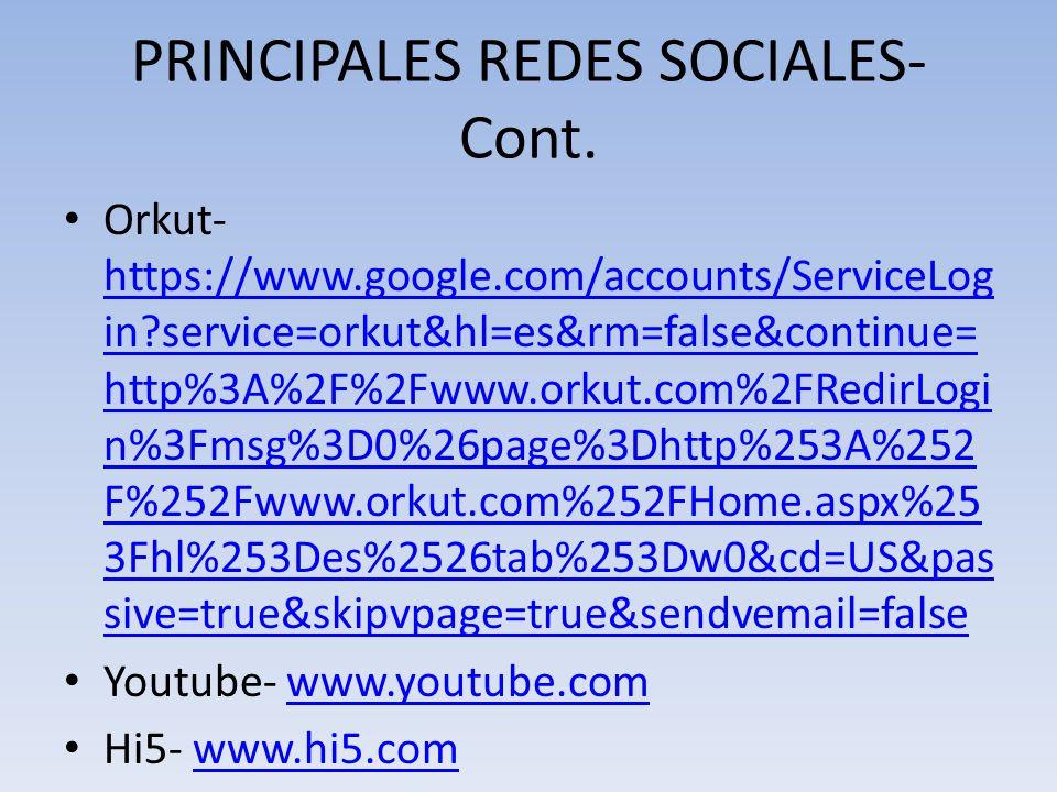 PRINCIPALES REDES SOCIALES-Cont.