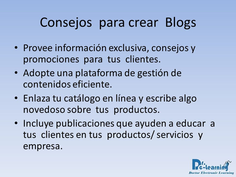 Consejos para crear Blogs