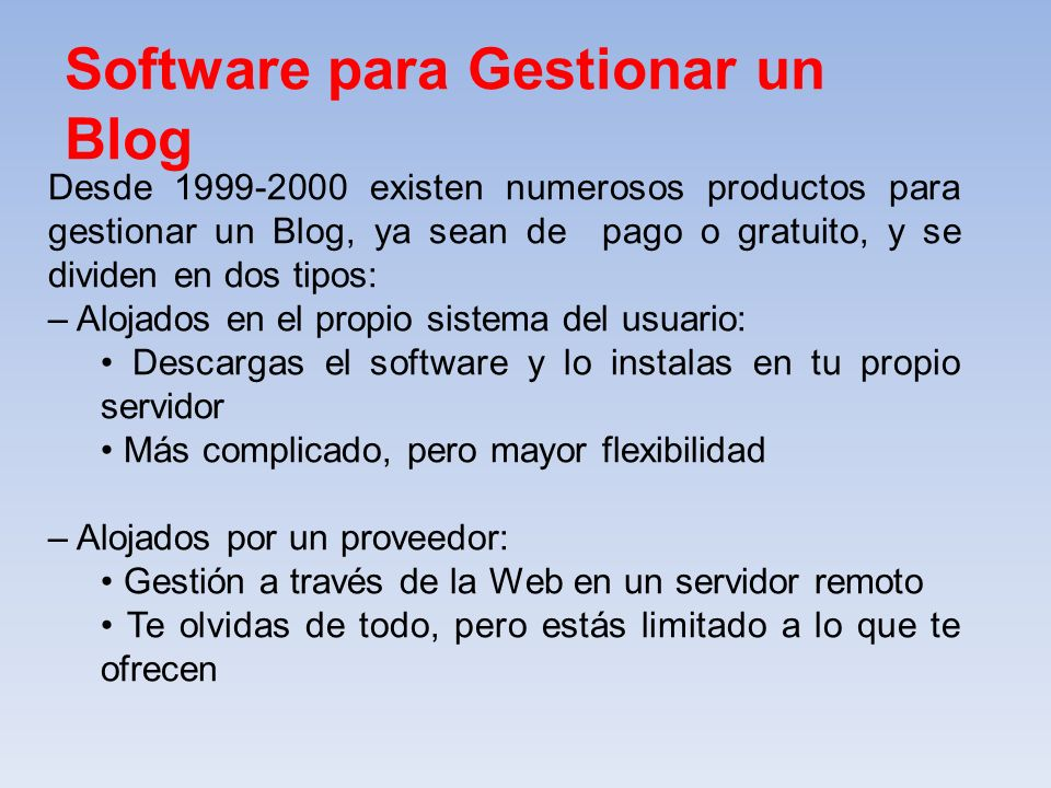 Software para Gestionar un Blog
