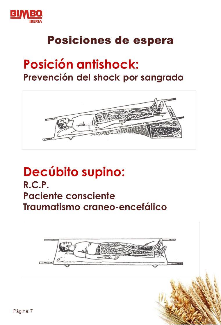 Posición antishock: Decúbito supino: Posiciones de espera