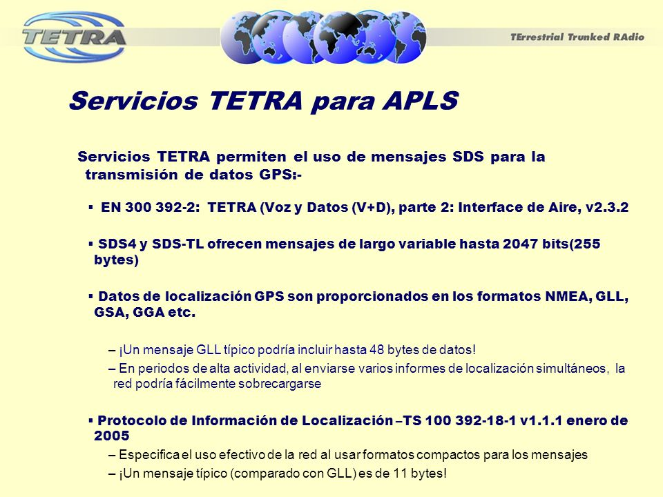 Servicios TETRA para APLS