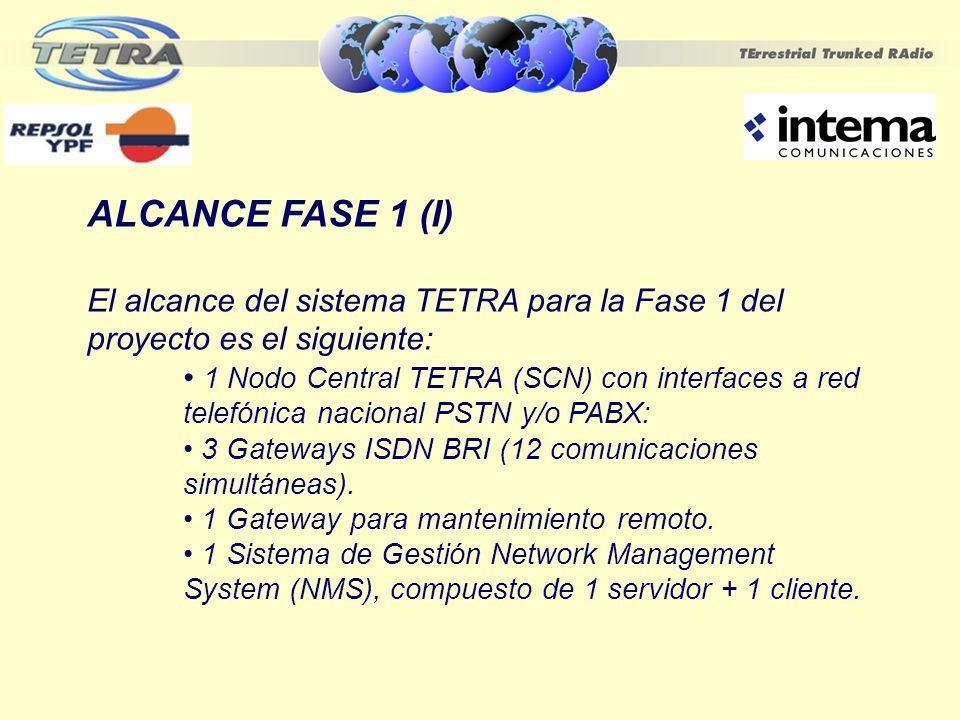 ALCANCE FASE 1 (I) El alcance del sistema TETRA para la Fase 1 del proyecto es el siguiente: