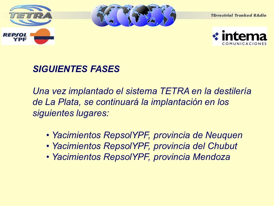 SIGUIENTES FASES Una vez implantado el sistema TETRA en la destilería de La Plata, se continuará la implantación en los siguientes lugares: