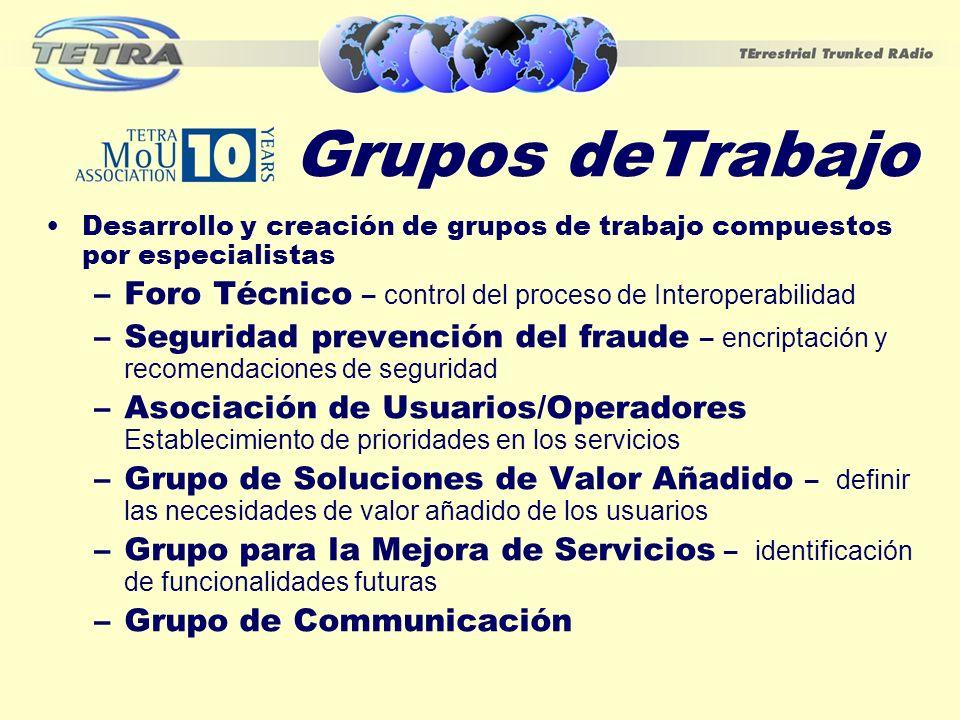 Grupos deTrabajo Desarrollo y creación de grupos de trabajo compuestos por especialistas. Foro Técnico – control del proceso de Interoperabilidad.