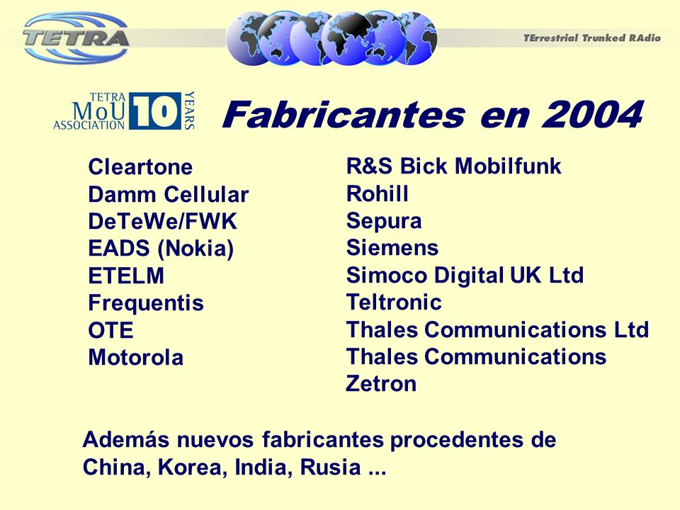 Fabricantes en 2004 Cleartone R&S Bick Mobilfunk Damm Cellular Rohill